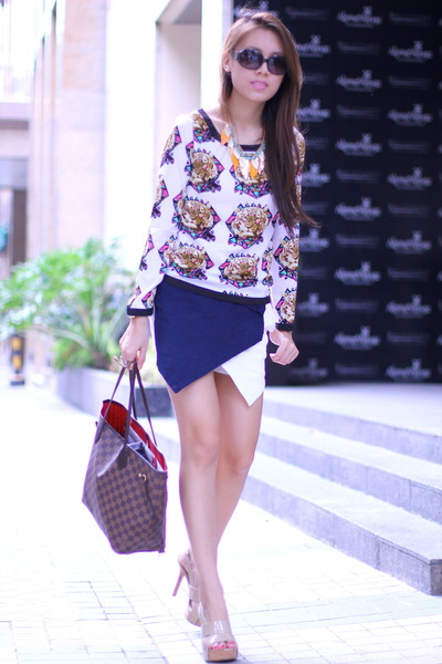 origami skort The Sweet Cloth skirt - neverfull Louis Vuitton bag