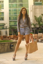 beige Max Factor bag - denim Forever 21 shorts - sheer H&M top - gray CMG wedges