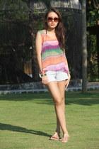 sheer Bazaar top - denim Forever 21 shorts - brown Mango sunglasses