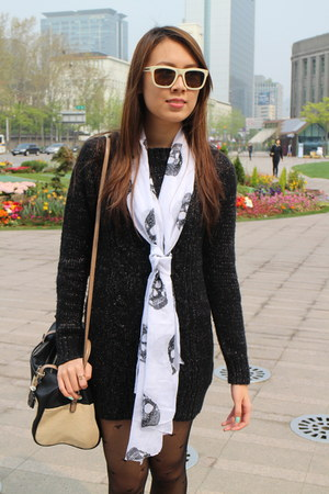 black Terranova dress - heart OASAP leggings - skull H&M scarf