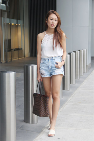 white Forever 21 top - neverfull Louis Vuitton bag - denim Pull & Bear shorts