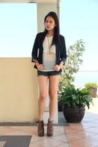 sheer H&M blouse - navy blue g2000 blazer - denim Forever 21 shorts