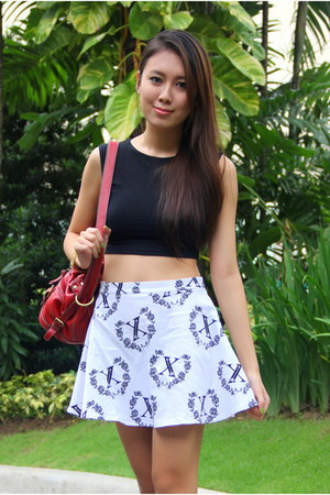 skater H&M skirt - red Nine West bag - crop Forever 21 top