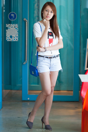 blue Zara bag - denim Forever 21 shorts - white Zara skirt - gray Zara heels