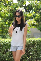 cat eye romwe sunglasses - denim Forever 21 shorts - black and white Mango top