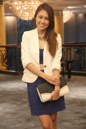 blue Forever 21 skirt - white Mango blazer - clutch Dorothy Perkins bag