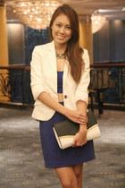 blue Forever 21 skirt - white Mango blazer - clutch Dorothy Perkins bag