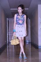 blue Fioni wedges - floral Cosmopolitan shirt - yellow EGG bag