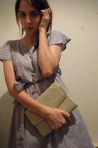 purple vintage dress - white Vintage bag accessories - gold necklace accessories