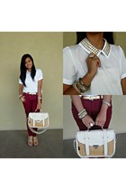 camel bag - crimson pants - gold accessories - ivory blouse - light brown wedges