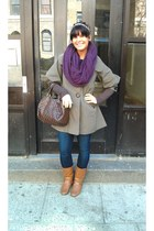 go jane boots - TJ Maxx coat - zipper pockets Hurley jeans - infinity purple H&M