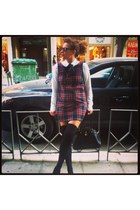 tartan homemade dress - white Zara shirt - black leather Accessorize bag