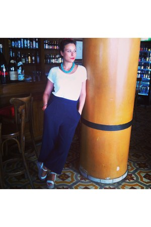 ivory white stripes shoes - navy Zara pants - white white basic H&M t-shirt
