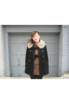 black Forever 21 coat - white vintage fur collar accessories - brown vintage dre