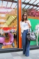 blue ck jeans - dark brown Marc by Marc Jacobs bag - brown Anne Klein sunglasses