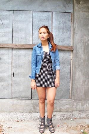 black from bangkok dress - blue Gap jacket - gray Manels wedges