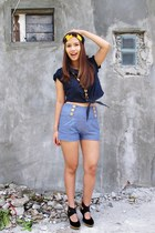 black Rajo for Parisian heels - navy Peace Love Fashion top