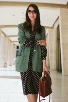 green polka dot liz claiborne blazer - brown coach bag
