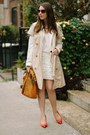 White-zara-skirt-tan-calvin-klein-jacket-light-brown-vigoss-usa-sunglasses
