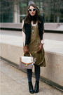 Black-coye-nokes-boots-olive-green-club-monaco-dress-off-white-brahmin-bag