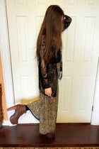 lita platforms Jeffrey Campbell shoes - black lace hm shirt - camel skirt