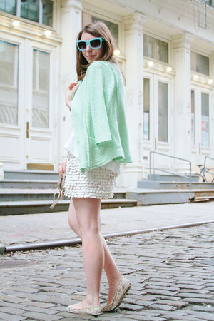 white Zara skirt - aquamarine knit Zara jacket