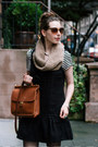 Black-dropwaist-free-people-dress-brown-knit-shui-chen-new-york-scarf