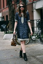 navy sequin Candela dress - black Coye Nokes boots