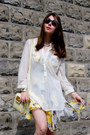 White-floral-chiffon-nel-dress-black-round-asos-sunglasses