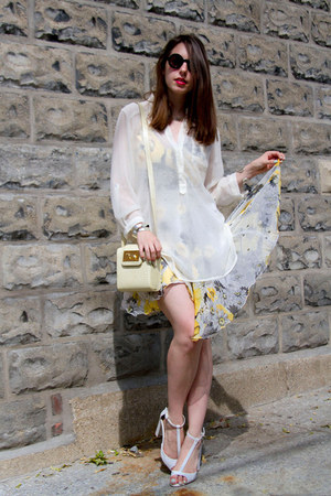 white floral chiffon Nel dress - black round asos sunglasses