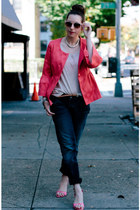 hot pink Charles Gray London jacket - navy Silver Jeans Co jeans - tan H&M shirt