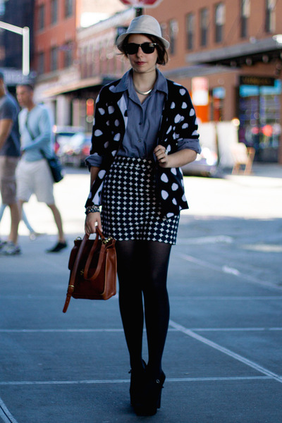 black polka dot Coldwater Creek sweater - off white Stetson USA hat