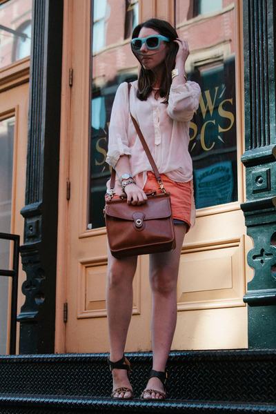 brown leather coach bag - carrot orange jeans Quiksilver shorts