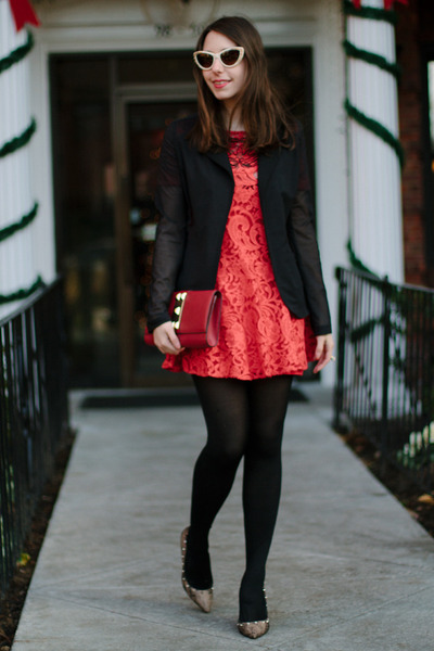 red lace free people dress - black Anatomie blazer - red clutch Vince Camuto bag