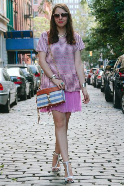 ruby red striped peplum Peplum Top top - sky blue Rebecca Minkoff bag