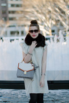 beige polka dot Zara dress - off white brahmin bag