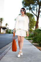 white knit Costa Blanca sweater - tawny austin tote Fossil bag