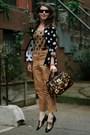 Black-polka-dot-coldwater-creek-sweater-brown-animal-print-brahmin-bag