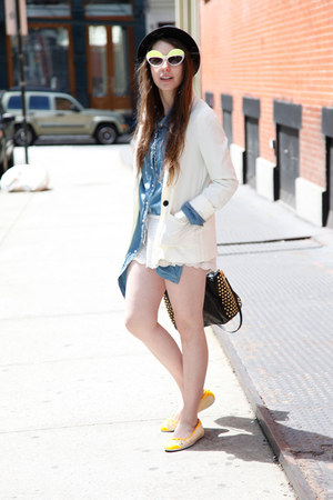 yellow Puma flats - black fedora Urban Outfitters hat - white H&amp;M blazer