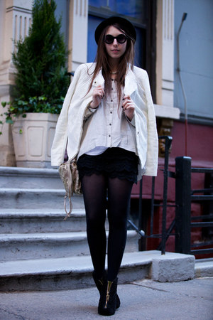 black OASAP shorts - white eyelet jacket Addison jacket