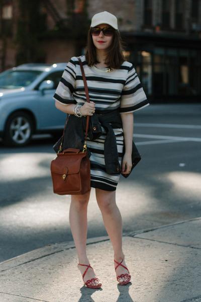 brown coach bag - black striped H&M dress - eggshell baseball cap H&M hat