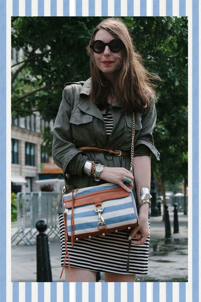 sky blue striped Rebecca Minkoff bag - navy striped H&M dress