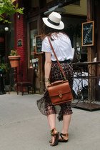 white panama hat JCrew hat - brown coach bag - purple Ceico skirt