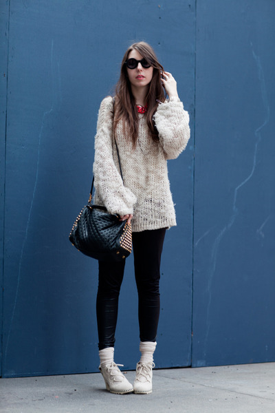 eggshell knit comfy hm sweater - black studded Rebecca Minkoff bag