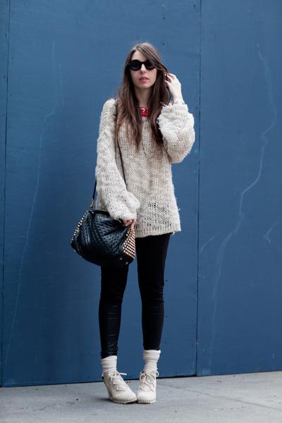 eggshell knit comfy hm sweater - black studded Rebecca Minkoff bag