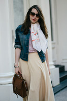 beige Ralph Lauren skirt - navy denim Jessica Simpson collection jacket