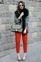 black scarf - black brahmin bag - eggshell Nanette Lepore sunglasses