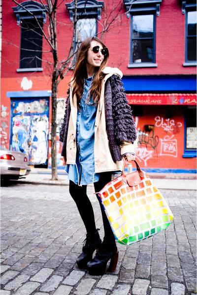 black lana wedge Jeffrey Campbell heels - tan ecote jacket