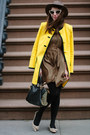 Brown-kelly-wearstler-dress-yellow-nanette-lepore-coat