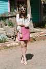 Pink-suede-vintage-miu-miu-skirt-white-zara-heels